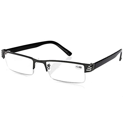 Yunso Lesebrillen Metall Sehhilfe Augenoptik Halbrand Halbrandbrille Brille Lesehilfe für Damen Herren (+2.00)