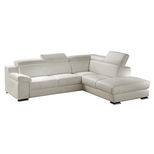 Esse italia divano letto angolare ecopelle bianca penisola dx 279x112xh.80 cm