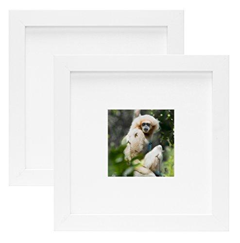 Golden State Art einfach und stilvoller Porträtrahmen mit elfenbeinfarbenem Farbe Matte & Echtes Glas (Set von zwei 8x 8, weiß) -
