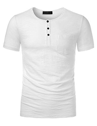 HEMOON Solid Herren Tee, Shirt Kurzarm Shirt mit Grandad-Ausschnit 100% Baumwolle Henley Neck Weiß M (Solid-jersey-henley)