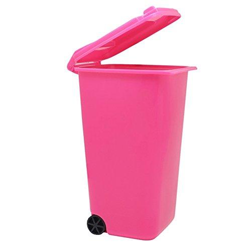 Cosanter Desktop Organizer Storage Box Schreibtisch Organisator Aufbewahrungskorb mit Bunten Rad Mini Umweltschutz Mülleimer Rot
