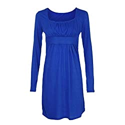 SamMoSon Dress for Women Western,Womens Dresses,Womens Mini Dress Long Sleeve Fashion Women Mini Collar Dress Neck Tunic