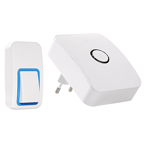 Sonnette sans fil, WGOAL sans pile requise, sans câblage, 1 émetteur enfichable 1 réceptacle, IPX7 Sonnette sans fil étanche avec lumières DEL Effet clignotant, portée de 120 m, 25 sonneries, blanc