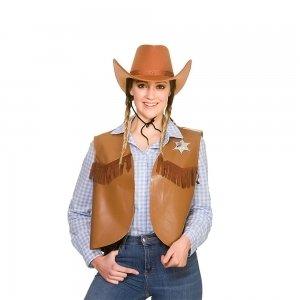Cowboy Sherriff Waistcoat Brown for Fancy dress Costume