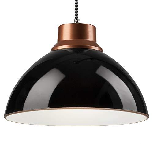 Pendel-Leuchte Decken-Leuchte aus Glas E27 Hänge-Leuchte (Farbe: Schwarz/Kupfer) Vintage Industrieleuchte Wohnzimmerlampe Modern Wohnzimmer mit Kabel Vintagelampe für Wohnzimmer/Küche/Büro/Praxis -