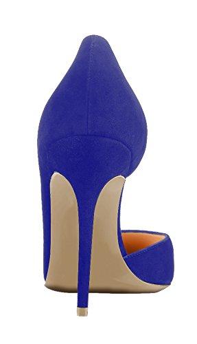 Guoar Damen Große Größe Pumps Spitze Zehen D'Orsay Rutsch Samt Mehrfarbig Stiletto Büro-Dame Party Hochzeit Blau