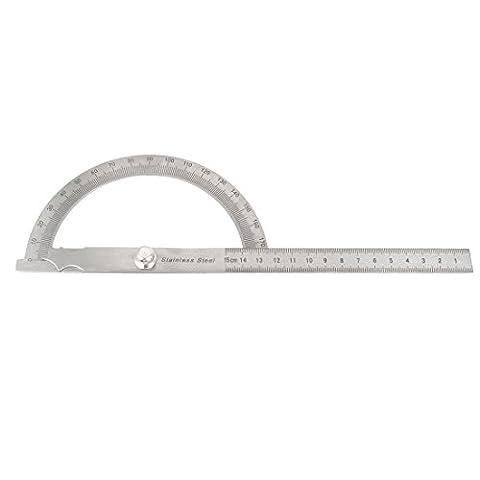 sourcingmap® Metall Drehen 0-180 Grad Winkelmesser 15cm Lineal Messwerkzeug