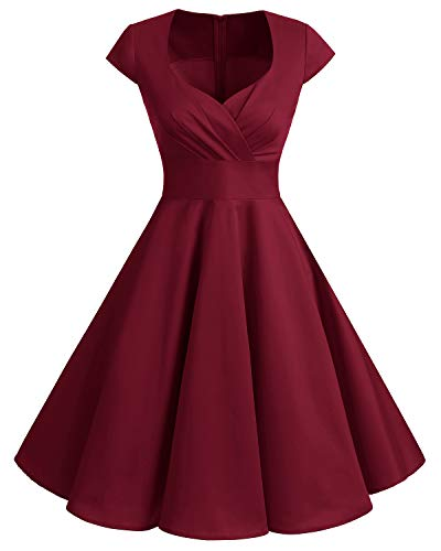 Bbonlinedress Robe Femme de Cocktail Vintage Rockabilly Robe plissée au Genou sans Manches col carré Rétro Dark Red L