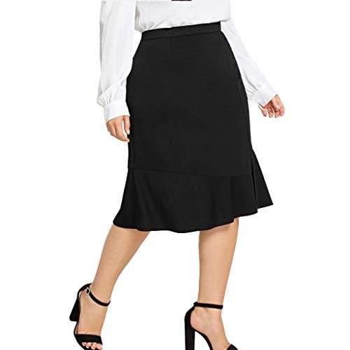 Damen A-Linie Faltenrock Elegant Elastische Taille Einfarbig Business Rock Knielang Mini Bodycon Rock -