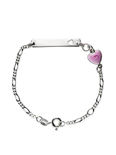 AKA Bijoux - Bracelet d'Identification Enfants Argent 925 avec Coeur Rose, Cadeau Fantaisie Fille