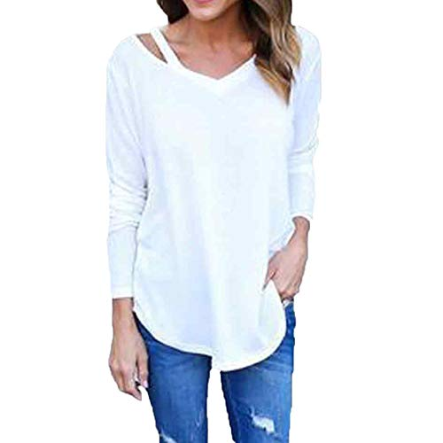 Goldatila Blusen & Tuniken für Damen Women ' s Solid Color Off-Shoulder Strap V-Neck Sweater Knit Long Sleeve Top -
