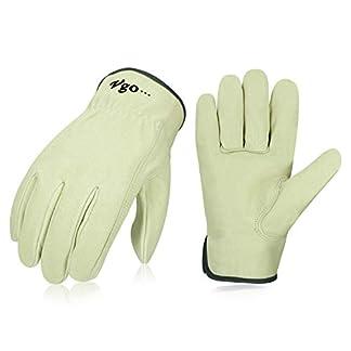 Vgo Glove Guantes de Trabajo de cuero de cerdo, guantes de conducir y guantes de trabajo, Lavable, Multifunción (1Par, Blanco, PA9501)
