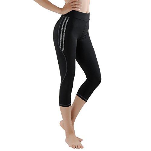 GoVIA Leggings Donne pantaloni di corsa Mesh con inserti in rete Fitness Yoga pantaloncini sportivi 4101 3/4 lunghezza-grigio