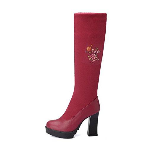 AllhqFashion Damen Ziehen Auf Rund Zehe Hoher Absatz Gemischte Farbe Stiefel Rot