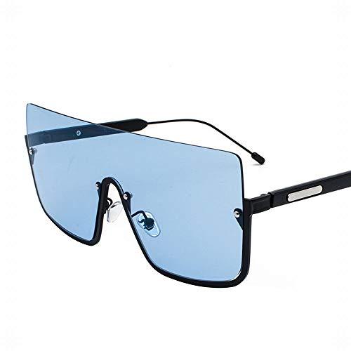 WULE-RYP Polarisierte Sonnenbrille mit UV-Schutz Pilot-Style Frog Mirror Large Frame Sonnenbrille für Frauen. Superleichtes Rahmen-Fischen, das Golf fährt (Farbe : Schwarz Blau)