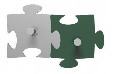 Porte-Manteau Mural Design Puzzle 2 Éléments Aluminium-Vert Mousse