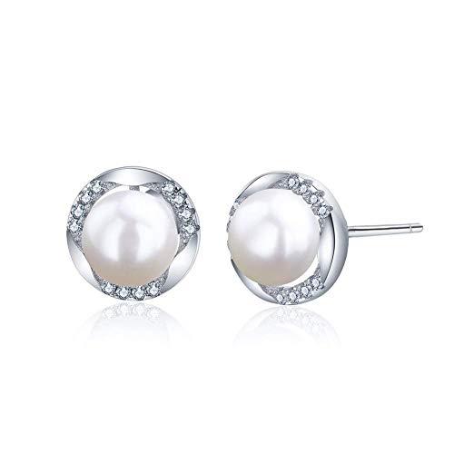 AUNEK Damen Mädchen Perlen Ohrringe Silber 925 Sterling Zuchtperlen 6,5 mm Rund Süßwasser Perlen Ohrstecker Set