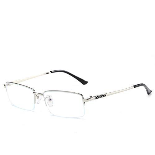 Jakiload Anti-Blau-Licht-Brille Herren Business-Computer Metall-Halbrahmen Brillengestell für Männer (Color : Silver)