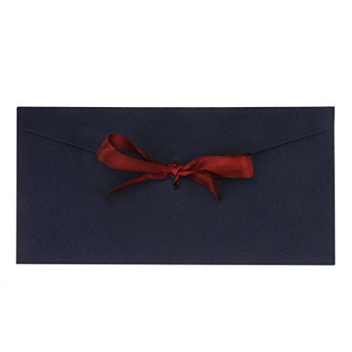 AfinderDE 10 Stück Blanko Briefumschläge mit Schleife Umschläge (22 x 11cm) in Lang Format für Hochzeit Einladungskarten Nachricht Karte Party Geburtstag Weihnachten Geschenk Karten (Dem Engel-karten Nachrichten Aus)
