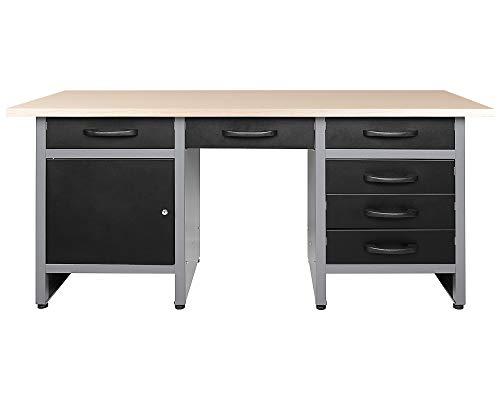 Ondis24 Werkbank 160 cm mit 6 Schiebern und Tür abschließbar Werktisch für Werkstatt Holz Arbeitsplatte (95 cm Arbeitshöhe)