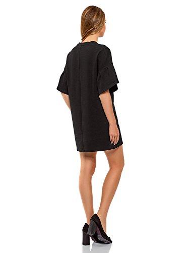 oodji Ultra Damen Gerade Geschnittenes Kleid mit Volants auf den Ärmeln Schwarz (2900N)