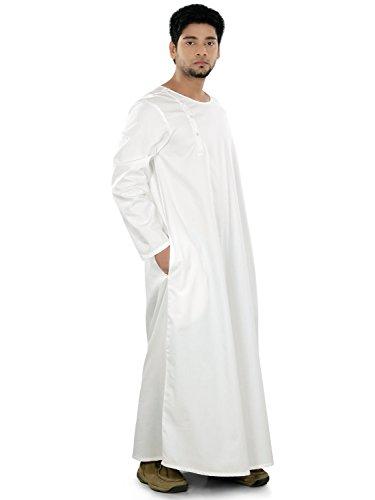 MyBatua Aarish White Galabiyya Style Thobe, Thowb, Islamic Mens Clothing GM-019 (X-Large)