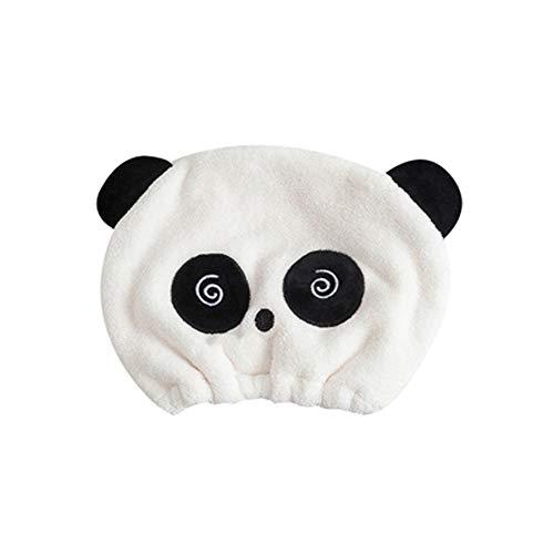 Starke saugfähige Kappe für trockenes Haar Niedliche Cartoon-Panda-Kopf-Trockenhaar-Handtuch-Weiche-Korallen-Vlies-Atmungsaktive Duschhaube für Erwachsene