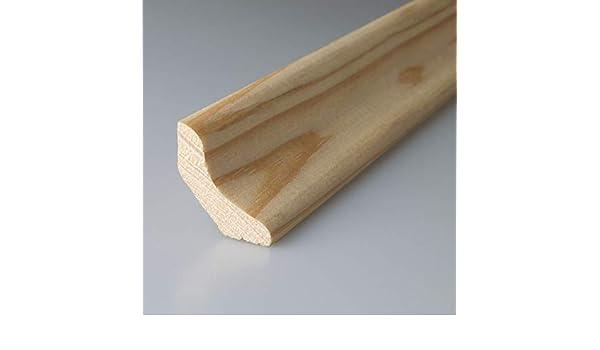 Zierhohlkehlleiste Zierleiste Hohlkehlleiste Abschlussleiste Fu/ßbodenleiste aus unbehandeltem Kiefer-Massivholz 2400 x 18 x 18 mm