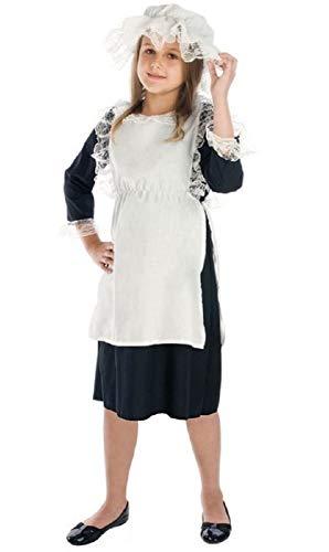 Fancy Me Mädchen Arme Viktorianisch Bauer Dienstmagd büchertag Kostüm Kleid Outfit 4-12 Jahre - Schwarz/weiß, 10-12 ()