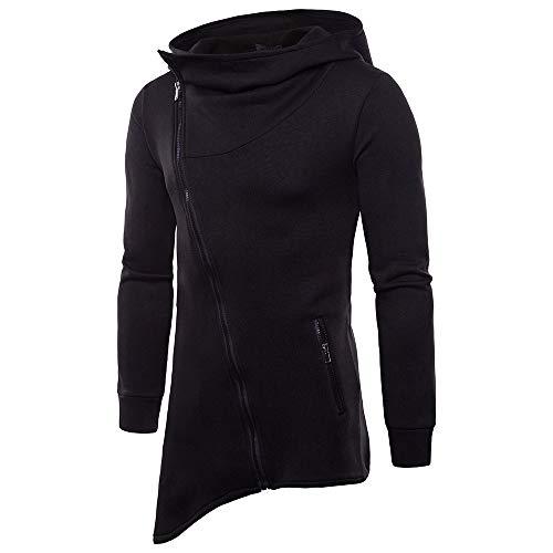 MEIbax Herren Kapuze Jacke Casual Herbst Langarm Pullover Hoodie Reißverschluss Mantel Asymmetrisch Sweatshirts -