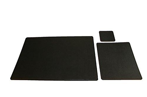 Schreibtischunterlage aus recyceltem Leder 42x29,5cm, Untersetzer eckig - Schwarz -