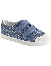 c033e61dd VERTBAUDET Zapatillas Deportivas niña de Lona con Tiras autoadherentes Azul  Claro Estampado 28
