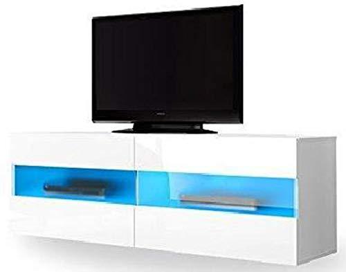 PEGANE Meuble TV Design Coloris Blanc/Blanc Brillant avec éclairage LED - Dim : 100 x 40 x 35 cm