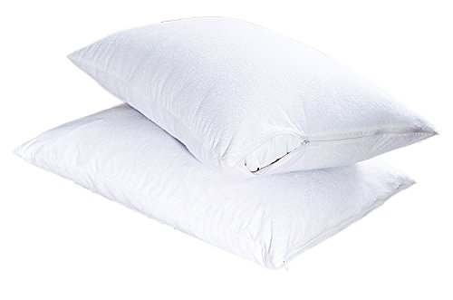 Luxury-Cotton-Non-Noisy-Terry-Towelling-Waterproof-Pillow-Protector-with-Zip-Pair-Pillow-Cases-Protector-Cover-Anti-Allergy-Dust-MiteBacterial-Terry-Pillow-Protector-White