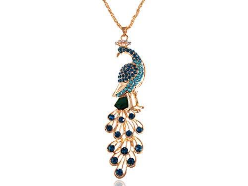 Alilang Gold Farbton Blau Grün Farbiger Strass Pfau-Vogel-Anhänger Kette Halskette