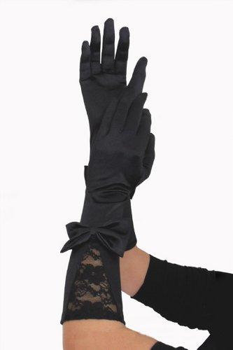 (spass42 Elegante Damen Handschuhe Satin Spitze schwarz lang Classic Satinhandschuhe Opera Abendhandschuhe Groesse: S/M/L/XL)