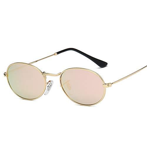 LAMAMAG Sonnenbrille Kleine Ovale Sonnenbrille Frauen Vintage Schwarz Rot Günstige Sonnenbrille Runde Metallrahmen Männer Uv Gafas De Sol, 4