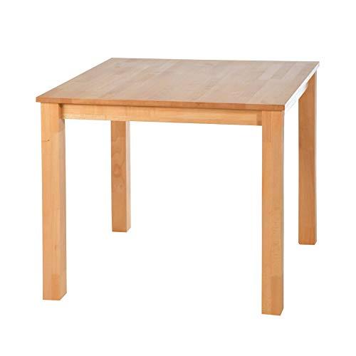 acerto 20120 Esstisch massiv aus Buche, 90 x 90 cm * Hartwachsöl * Extrem robust * Massivholz Buchentisch | Großer Holz-Tisch rechteckig als Esszimmertisch, Küchentisch & Massivholztisch