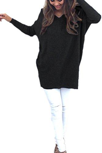 Monissy Femmes Pulls V-Col Automne et Hiver A La Mode Lâche à Manches Longues Pulls Noir