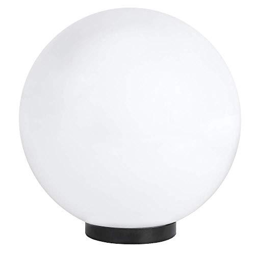 Kugelleuchte Ø 30 cm | Kugel 230 Volt | Außenkugellampe IP44 | Gartenlampe E27 | Dekoleuchte Außenbereich | Kugellampe mit Bodenplatte | Terrassenbeleuchtung weiß