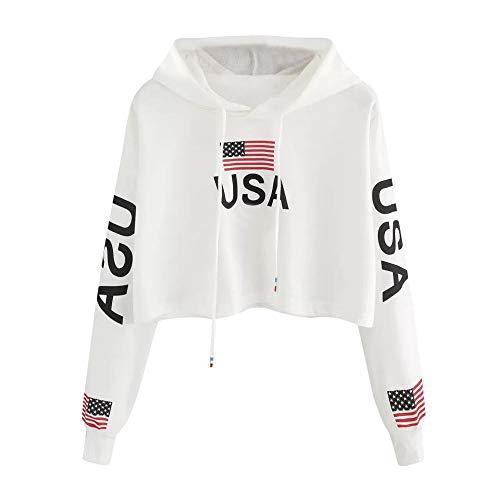MORCHAN  Sweat-Shirt Champion Femmes Décontractée Chute de l'épaule Drapeau américain Impression Sweat à Capuche Sweat-Shirt Tops Chimie Chemisier(FR-40/CN-M,Blanc)