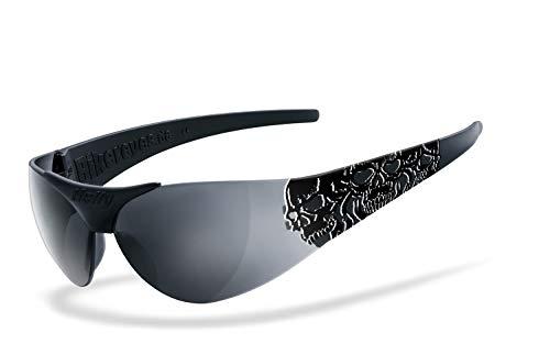 Helly® - No.1 Bikereyes® | H-FLEX®- unzerbrechlich, beschlagfrei, HLT® Kunststoff-Sicherheitsglas nach DIN EN 166 | Bikerbrille, Tribal Brille | Brillengestell: schwarz matt, veredelt, Brille: moab 4