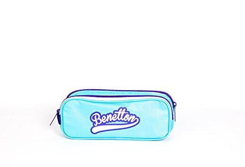 Benetton estuche dos cremalleras azul escolar