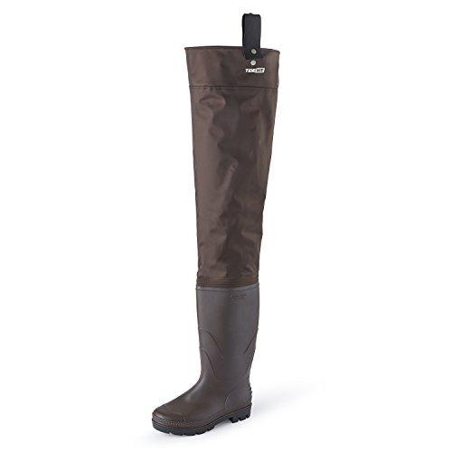eicht Hip Stiefel für Damen und Herren, 2Lagig PVC/Nylon Angeln Jagd Hip Wader (Grün und Braun), Braun, M9/W11 ()