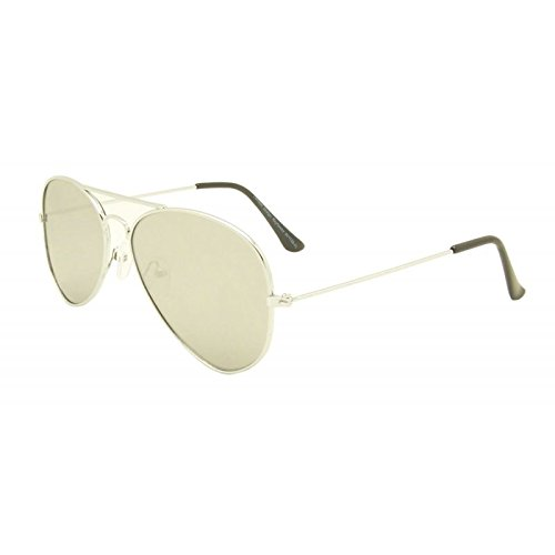 Silber Unisex flach Objektiv Aviator Stil Sonnenbrille 80er Fashion Metall Farme Gold Rand