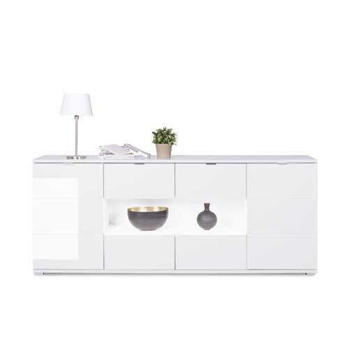 Sideboard in weiß Hochglanz, chromatierte Metallgriffe, wendbare Rückwände, Füße silber lackiert,Maße: B/H/T ca. 200/85/40 cm - 4