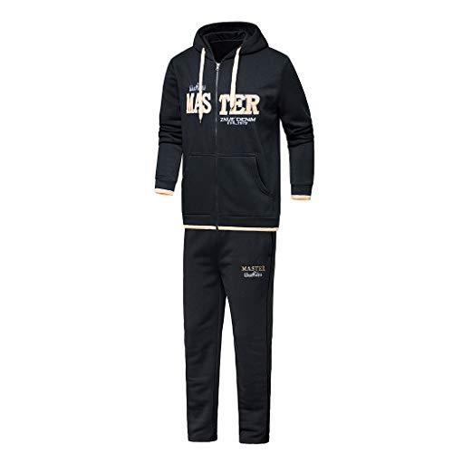 Preisvergleich Produktbild Amphia - Herbst- und Wintersportbekleidung für Herren - Herren Herbst Winter Hooded Print Sweatshirt Top Hosen Sets Sportanzug Trainingsanzug(Schwarz, XXL)