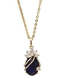 Cristal Hermoso Solitario amatista 18 bañados en oro con el collar pendiente