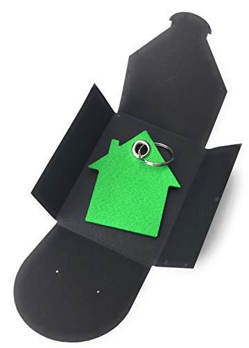 sselanhänger aus Filz - Haus - grün/gras-grün - als besonderes Geschenk mit Öse und Schlüsselring - Made-in-Germany ()