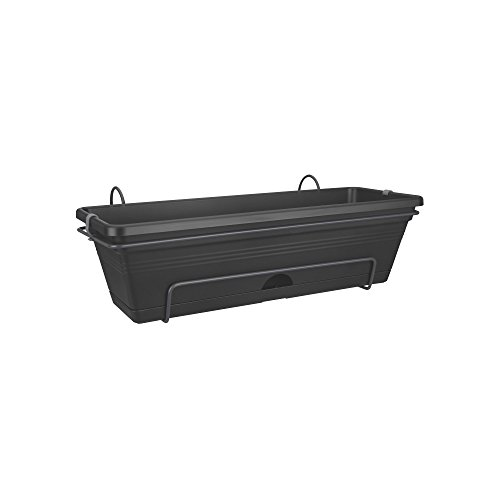 Elho Green Basics Trough Allin1 50 - Planter - Living Black - Outdoor & Balcony  - L 47.3 x W 25.7 x H 16.7 cm